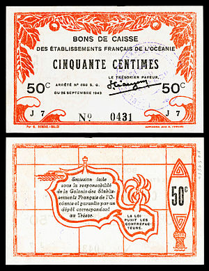 French Polynesian franc - Image: FRE OCE 10 French Oceania 50 centimes (1943)