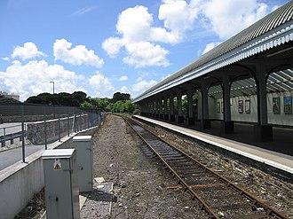 Falmouth Docks railway station - Looking towards Truro