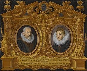 Double portrait Jacopo Menochio and his  wife, Margherita Candiana, in a trompe l'oeil frame