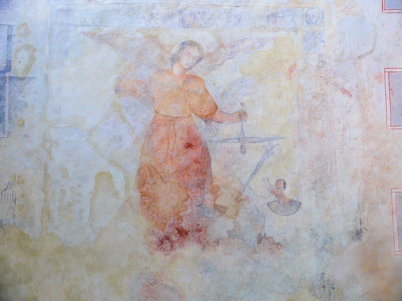 ... Église Sainte-Valérie - Transept - Vestige de peinture murale.JPG