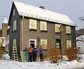 Fensterhandwerker restaurieren Fenster auch im Winter.P1000132.JPG
