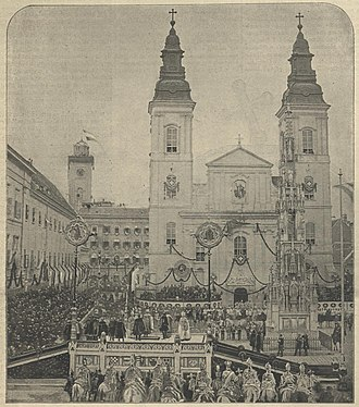Austro-Hungarian Compromise of 1867 - Photo of the coronation oath in Buda in front of the Inner City Parish Church (Budapest)