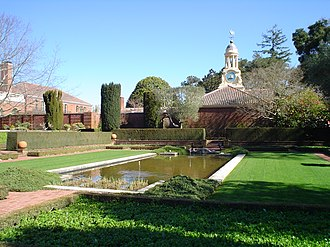 Filoli - Reflecting pool and former carriage house.