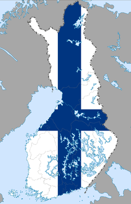 Finland flag map