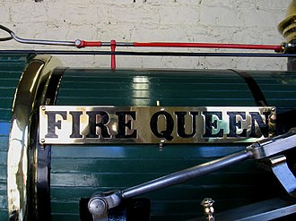 Penrhyn Castle Railway Museum - Image: Fire Queen Nameplate