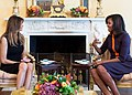 First Lady Michelle Obama meets with Melania Trump for tea in the Yellow Oval Room of the White House.jpg