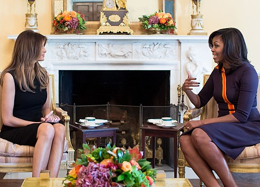 First Lady Michelle Obama meets with Melania Trump for tea in the Yellow Oval Room of the White House, Nov. 10, 2016. (Official White House Photo by Chuck Kennedy -- public domain)