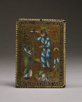 "Book of Ezekiel - A mid-12th century Flemish piece of copperwork depicting Ezekiel's Vision of the Sign ""Tau""  from Ezekiel IX:2–7. The item is currently held by the Walters Museum."