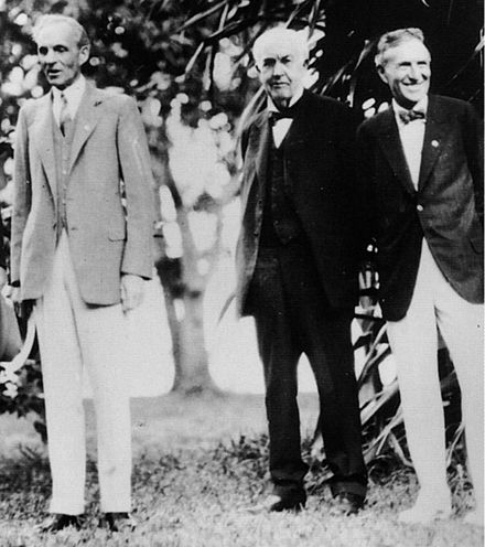 Henry Ford, Thomas Edison, and Harvey Firestone, respectively. Ft. Myers, Florida, February 11, 1929 Ford Edison Firestone1.jpg