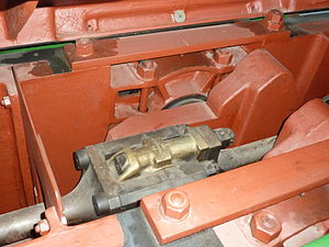 Flat twin engine - Connecting rod big-ends of the Brush flat-twin Diesel engine at Snibston Discovery Museum