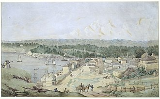 Darling House, Millers Point - Dawes Point 1840s looking north (with Darling House in centre), watercolour by Joseph Fowels, State Library of NSW