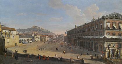 Veduta del Largo di Palazzo, Gaspare Vanvitelli, Palazzo Zevallos, Napoli