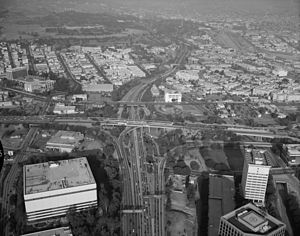 Four Level Interchange - Four Level Interchange of Arroyo Seco Parkway, Harbor Freeway, Santa Ana Freeway and Hollywood Freeway, looking northeast in January 1999