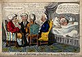 Four doctors discussing the case of Sir Toby Bumper, while h Wellcome V0011034.jpg
