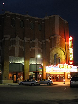 Fox Theater (Hutchinson, Kansas) - At night, with the marquee lit.