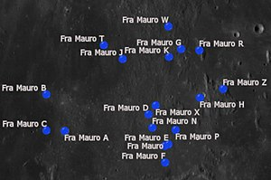 Fra Mauro (crater) - Fra Mauro and its satellite craters