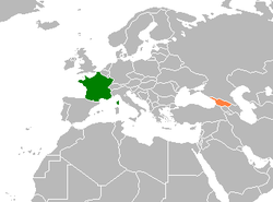 Map indicating locations of France and Georgia
