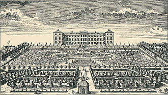 Frederiksberg Palace - Frederiksberg Palace in 1718 with the original Baroque garden