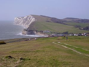 Tennyson Down - Tennyson Down (chalk cliffs beyond bay)