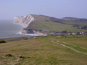Tennyson Down - Tennyson Down (chalk cliffs beyond bay)