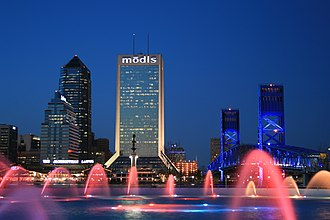 Southbank (Jacksonville) - Image: Friendship Fountain at Night