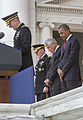 From right, President Barack Obama, Secretary of Defense Chuck Hagel and U.S. Army Gen. Martin E. Dempsey, the chairman of the Joint Chiefs of Staff, bow their heads as Col. Michael E. Brainerd, a chaplain 130527-D-HU462-430.jpg