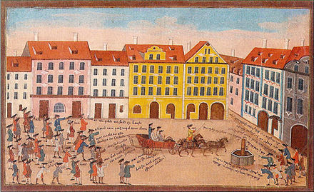 University of Jena at 1770, no longer a stronghold of orthodox Lutheranism. During the 1700s, Germany turned to rationalism. Fuchsenankunft Jena um 1770.jpg