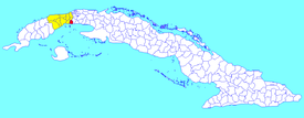 Güira de Melena municipality (red) within Artemisa Province (yellow) and Cuba