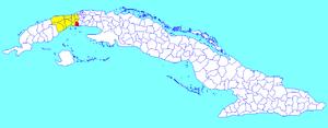 Güira de Melena - Image: Güira de Melena (Cuban municipal map)