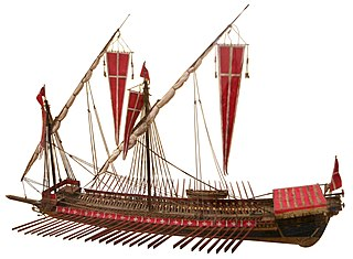 Galley ship mainly propelled by oars