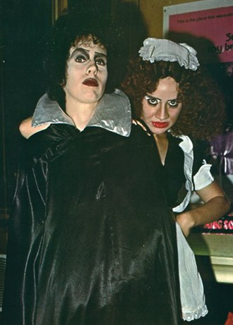 Tiffany Theater - D. Garrett Gafford as Frank N Furter and Terri Hardin (as Magenta) at the Tiffany Theater on the Sunset Strip in 1978 for a screening of The Rocky Horror Picture Show