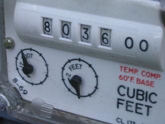 Gas meter - Image: Gas meter indicator