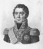 Print of an unsmiling, curly-haired Paul Grenier in general's uniform