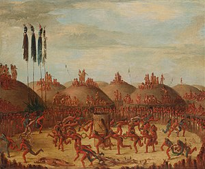 Like-a-Fishhook Village - George Catlin - The Last Race, Mandan O-kee-pa Ceremony - Google Art Project. The village Indians on the Upper Missouri lived in towns of earth lodges like this.