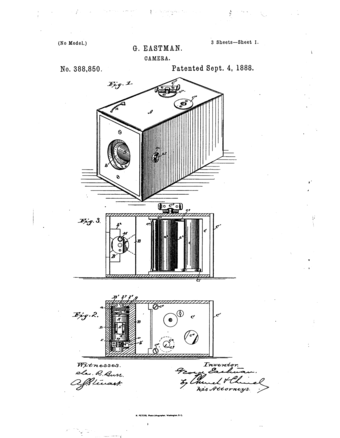 U.S. patent no. 388,850, issued to George Eastman, September 4, 1888 George Eastman patent no 388,850.png