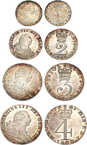 History of the British penny (1714–1901) - Set of Maundy money dated 1800, including the silver penny (top)