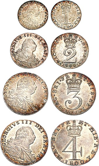 Set of Maundy money dated 1800, including the silver penny (top) George III Maundy 1800 722666.jpg