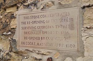 Georgian Theatre (Stockton-on-Tees) - Image: Georgian Theatre Commemorative Stone, Green Dragon Yard, Stockton on Tees