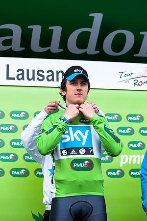 2012 Tour de Romandie - Image: Geraint Thomas (maillot vert) TDR 2012