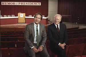 Chevy Chase - Gerald Ford with Chase before the Conference on Humor and the Presidency held at the Gerald R. Ford Museum in 1986