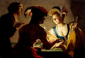 Gerard van Honthorst - The Matchmaker, showing the use of Carravagesque