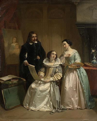 Gerard van Honthorst toont aan Amalia van Solms de tekeningen van zijn leerlinge Louise van Bohemen Rijksmuseum SK-A-1830