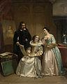 Gerard van Honthorst toont aan Amalia van Solms de tekeningen van zijn leerlinge Louise van Bohemen Rijksmuseum SK-A-1830.jpeg