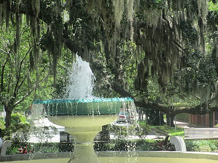The German Memorial Fountain was erected in 1989 to honor the accomplishments of German-Americans in Savannah. German Memorial Fountain in Savannah, Georgia IMG 4714.JPG