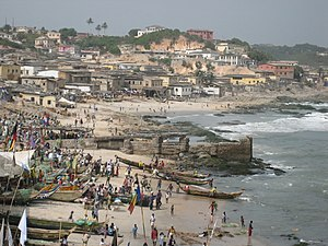 Cape Coast - View of Cape Coast fishing fleet from the Cape Coast