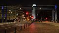 Ghetto Footbridge commemoration Chlodna Street in Warsaw at night.JPG
