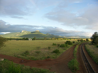 Lebombo Mountains - Part of the Lebombo mountain chain, including Ghost Mountain; seen from Mkuze
