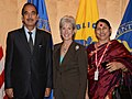 Ghulam Nabi Azad and the Minister of State (Independent Charge) for Women and Child Development, Smt. Krishna Tirath with the Secretary, U.S. Health and Human Services, Ms. Kathleen Sebelius.jpg