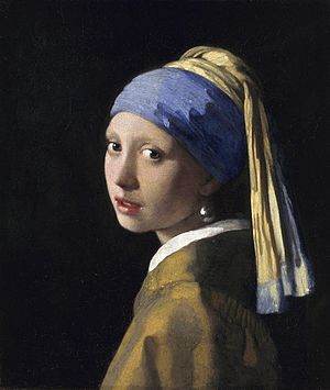 Girl with a Pearl Earring (novel) - In Chevalier's fictional account,  the character Griet is the model for Vermeer's painting.