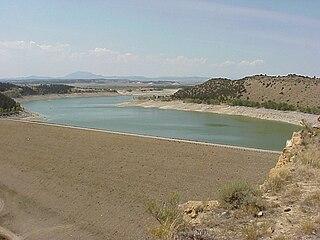 Glendo Reservoir Dam in Platte / Converse counties, Wyoming, USA